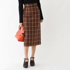 アクアガール aquagirl チェックミモレタイトスカート (ブラウン)
