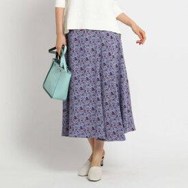 インディヴィ INDIVI [S]【マシンウォッシュ】フラワープリントAラインスカート (パープル)
