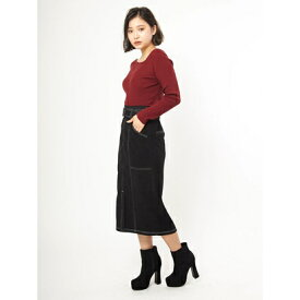 セシルマクビー CECIL McBEE 起毛配色ステッチタイトスカート (ブラック)