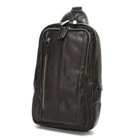 オティアス Otias 大きめフェイクレザー×ツヤ白化合皮 A4サイズ縦型ボディバッグ/ワンショルダーバッグ (ブラック)