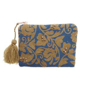 カンカン KANKAN 刺繍ポーチS (ブルー)