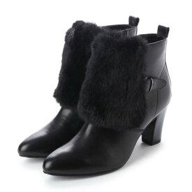 【アウトレット】ソフィアコレクション Sophia collection ファーコンビネーションショートブーツ (ブラック)