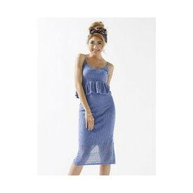 【アウトレット】DURAS 裾透かし柄ニットスカート ブルー