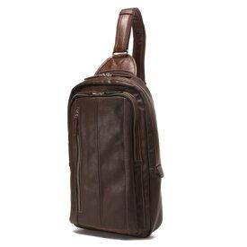 オティアス Otias 大きめフェイクレザー×ツヤ白化合皮 A4サイズ縦型ボディバッグ/ワンショルダーバッグ(ダークブラウン)