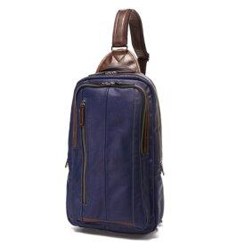 オティアス Otias 大きめフェイクレザー×ツヤ白化合皮 A4サイズ縦型ボディバッグ/ワンショルダーバッグ(ブルー)