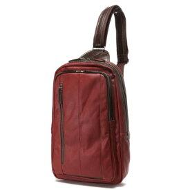 オティアス Otias 大きめフェイクレザー×ツヤ白化合皮 A4サイズ縦型ボディバッグ/ワンショルダーバッグ(レッド)