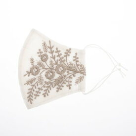 カンカン KANKAN フラワー刺繍マスク 【返品不可商品】 (ホワイトxグレ−)