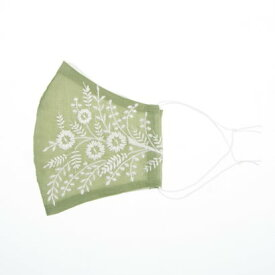 カンカン KANKAN フラワー刺繍マスク 【返品不可商品】 (グリーン)