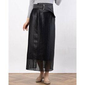 レディメイド LADYMADE ベルトセットチンツーレースタイトスカート (ブラック)
