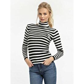 【アウトレット】ゲス GUESS Estela Turtle Neck Sweater (BLACK AND WHITE STRIPES)