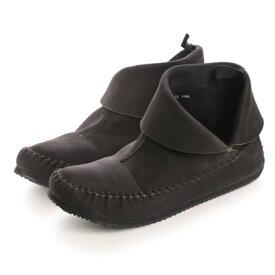 【アウトレット】キスコ KISCO 【牛革ヌバック】折り返しインヒールショートブーツ (ブラック)
