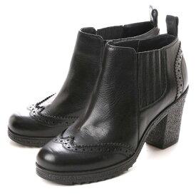【アウトレット】キスコ KISCO 【牛革】スムース&スエードタイプショートブーツ (ブラック)