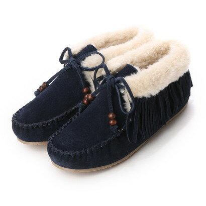 【アウトレット】ミネトンカ Minnetonka mi-fringe-slipper-bootie-40018 (NAVY)