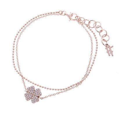 フォリフォリ Folli Follie Fashionably Silver Heart 4 Heart Love クローバー ブレスレット/ピンクゴールド