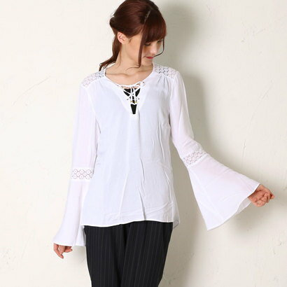 【アウトレット】ゲス GUESS L/S RENE TIE FRONT TUNIC (TRUE WHITE)