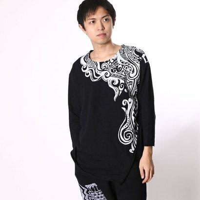 【アウトレット】チャイハネ チャイハネ トライバル柄七分袖メンズTシャツ (ブラック)