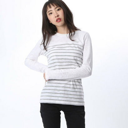 【アウトレット】ゲス GUESS LADIES L/S BORDER TEE (WHITE)