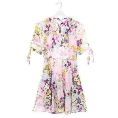 【アウトレット】ゲス GUESS HALF SLEEVE ALIYAH LACE UP DRESS (FIELD OF FLOWERS ORCHID)