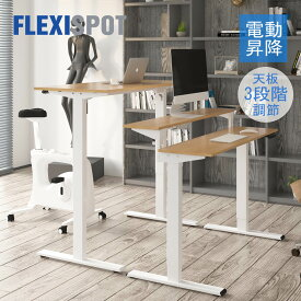FlexiSpot フレキシスポット 電動 昇降デスク スタンディングデスク オフィスデスク 高さ調節 電動式 昇降デスク ラック付き 後部天板三段調節 パソコンデスク 昇降テーブル デスク 机 高さ調節 昇降 作業台 ef1-48