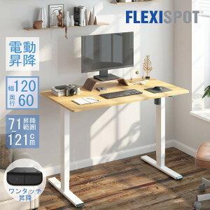 FlexiSpot 昇降デスク 電動 スタンディングデスク フレキシスポット ゲーミングデスク PCデスク パソコンデスク 作業台 勉強机 デスク 電動式 学習机 昇降デスク 高さ調節 天板120*60cm EG