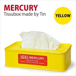 Mercury マーキュリー ブリキ ティッシュボックス イエロー マスタード ティッシュケース ティッシュケース入れ 箱ティッシュ入れ ブリキ雑貨 かわいい おしゃれ アメリカン雑貨
