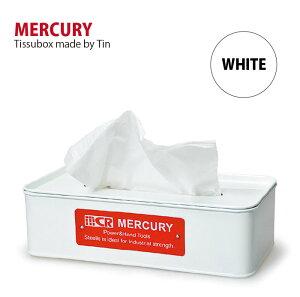 Mercury マーキュリー ブリキ ティッシュボックス ホワイト 白 ティッシュケース ティッシュケース入れ 箱ティッシュ入れ ブリキ雑貨 かわいい おしゃれ アメリカン雑貨