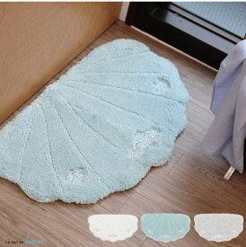 バスマット かわいい おしゃれ シェル 速乾 玄関マット 北欧 洗面所マットルソンドラメールバスマット40×70cmホワイト グレー ブルー