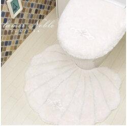 トイレマットセットかわいいおしゃれラメールノーブルトイレマット洗浄暖房用フタカバー2点セットホワイト貝がらハワイふわふわ洗える高級ルーブルダール