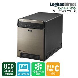 ロジテック HDDケース 3.5インチ 2.5インチ SSD(ハードディスクケース) 4BAY 外付 RAID機能なし USB3.2(Gen2)【LHR-4BNHUC】
