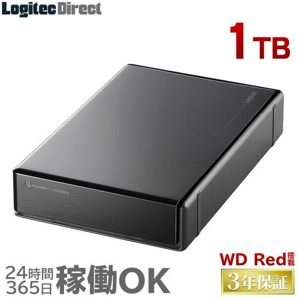 ロジテック WD RED搭載 外付けハードディスク HDD 1TB 3.5インチ USB3.0 3年保証 国産 省エネ静音 【LHD-EN1000U3WR】