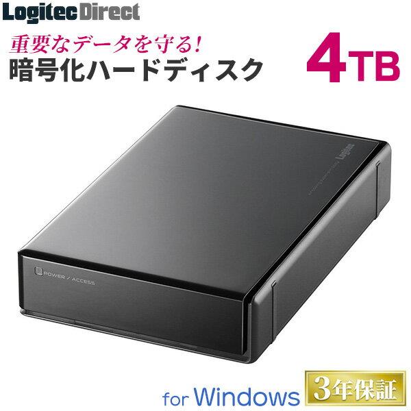 ハードウェア暗号化セキュリティ機能(ASE256bit)搭載 WD Red採用 ハードディスク HDD 4TB 外付け 3.5インチ USB3.0 国産 省エネ静音 ロジテック製【LHD-EN40U3BSR】【予約受付中:1/下旬出荷予定】