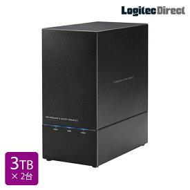 ロジテック RAID対応 外付けハードディスク HDD 6TB(3TB×2台) 2Bay 3.5インチ 国産 【LHD-2BRH60U3】