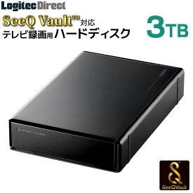 ロジテック SeeQVault対応 外付けHDD ハードディスク 3TB テレビ録画 テレビレコーダー シーキューボルト 3.5インチ USB3.2 Gen1 (USB3.0)【LHD-ENB030U3QW】