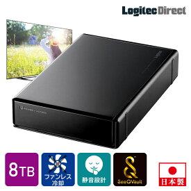 ロジテック SeeQVault対応 外付けHDD ハードディスク 8TB テレビ録画 テレビレコーダー シーキューボルト 3.5インチ USB3.2 Gen1 (USB3.0)【LHD-ENB080U3QW】 7rs 8st