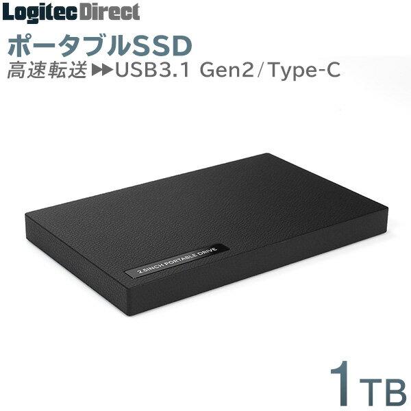 ロジテック 外付けSSD ポータブル 1TB USB3.1 Gen2 Type-C タイプC【LMD-PBR10UCBK】