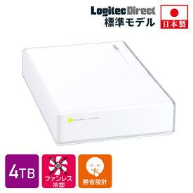 ロジテック HDD 4TB USB3.1(Gen1) / USB3.0 国産 テレビ録画 4K録画 省エネ静音 外付け ハードディスク TV 3.5インチ ホワイト PS4/PS4 Pro対応【LHD-ENA040U3WSH】 4TPS