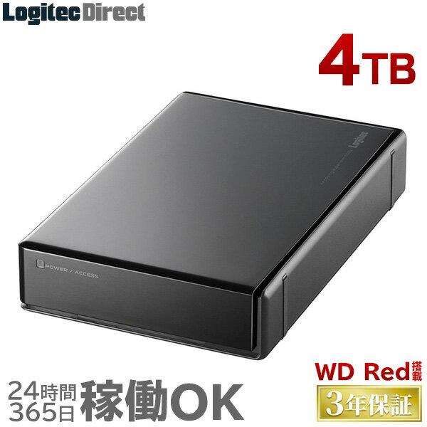 ロジテック WD RED搭載 外付けハードディスク HDD 4TB 3.5インチ USB3.1(Gen1) / USB3.0 3年保証 国産 省エネ静音 【LHD-ENA040U3WR】