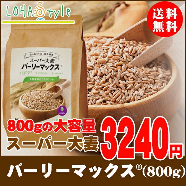スーパー大麦 バーリーマックス 800g もち麦 食物繊維がもち麦の2倍 ハイレジ お得な大容量パック 大麦 玄麦 腸活 送料無料 雑穀 LOHAStyle