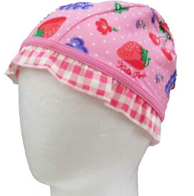 スイムキャップ キッズ 子供用 ピンクフルーツフリル付柄 女の子 夏休み 海 プール キッズ 子供 帽子