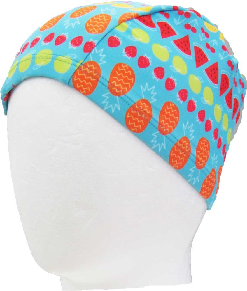 スイムキャップ(サックスブルー×フルーツ柄)KidsForet 帽子 キャップ 夏 夏休み 海 プール スイミング 保育園 幼稚園 小学校 スクール 子供 キッズ