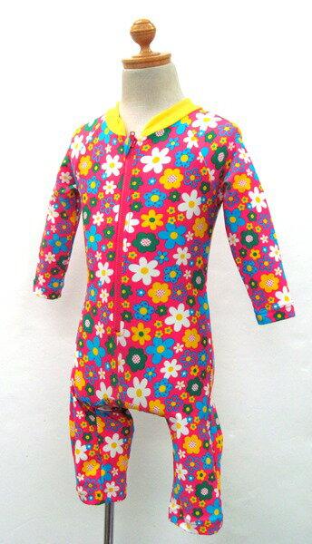オレンジボンボン ラッシュロンパース 水着 女児用 ピンク 花柄 ロンパースタイプ プール 海 夏休み 海水浴 ファスナー 保育園 幼稚園 女の子