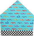 三角巾(サックスブルー×レーシングカー柄 ゴム留め) 子供用 三角巾 子供三角巾 幼児用三角巾 通園 通学 入園 …
