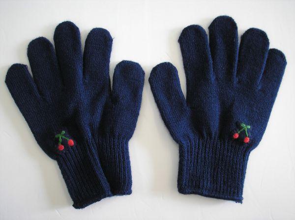 こども手袋 キッズフリーサイズ手袋 (紺・さくらんぼう手刺繍入り)子供手袋 子ども手袋 通園 通学 入園入学 幼稚園 保育園 小学校