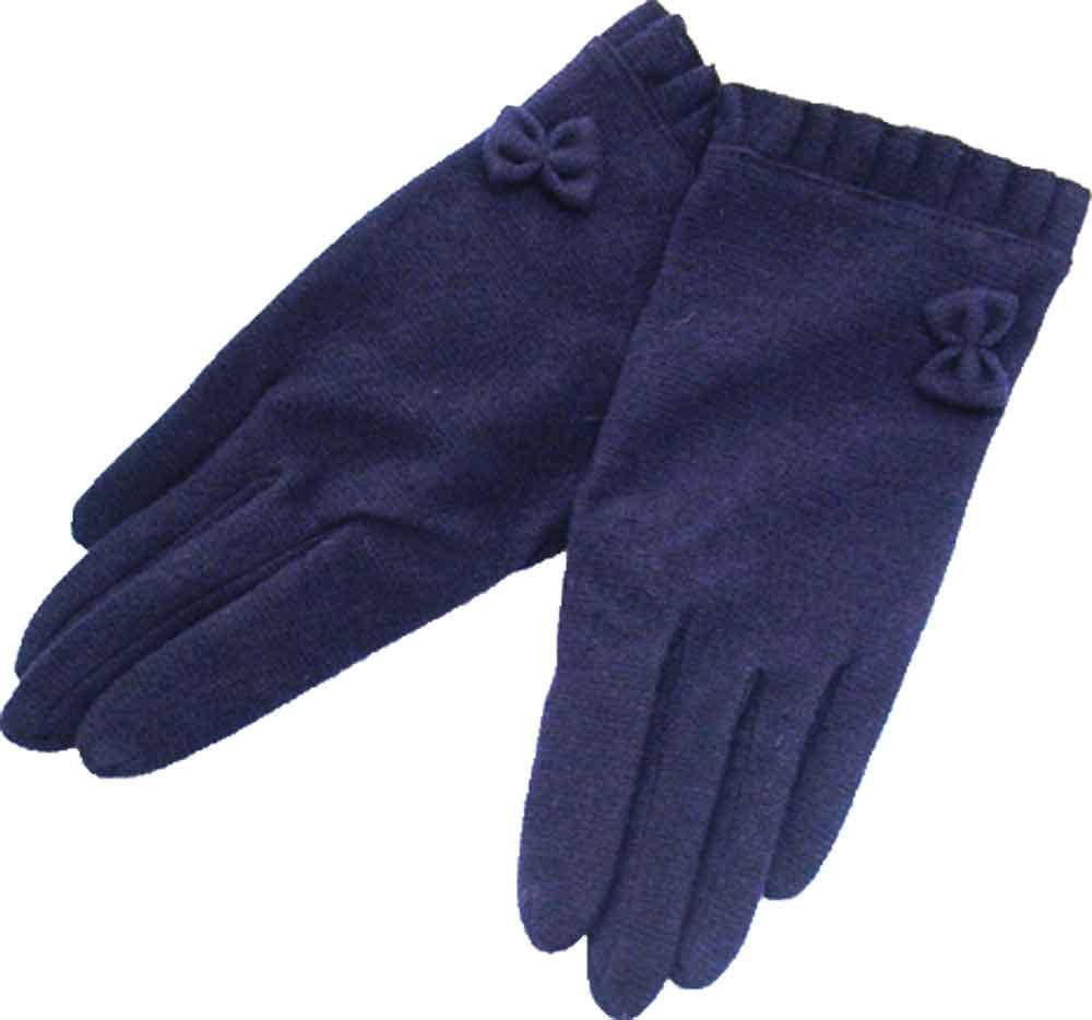 フリルリボン付き手袋 ネイビーMサイズ(6〜10歳)ジョリコムアンクール製 クリスマス プレゼント 入園 入学