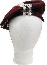 こども帽子 ベレー帽子(ワインレッドにレースとリボン) 子供用 秋物 おしゃれ 秋色 かわいい プレゼント 日本製