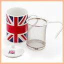 茶こし付きティーマグ(陶器製マグカップ・蓋、茶漉し付)(ユニオンジャック柄)