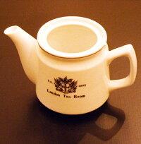 【パーツ販売】陶器製ティーポット本体(ロゴ入り)※蓋・茶漉しは付属しません。