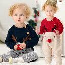 ベビー ロンパース 新生児 ニット 赤ちゃん エルク 鹿 トナカイ ベビーセーター お揃いクリスマス コスチューム レッ…
