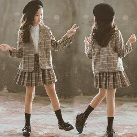 スーツ 入学式 女の子 フォーマルスーツ チェック柄 子供服 セットアップ スカートセット フリルスカート キッズ ジャケット 子供スーツ 卒業式 2点セット ジュニア服 七五三 発表会 カジュアル 普段着