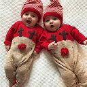 ベビー ロンパース 新生児 赤ちゃん エルク 鹿 トナカイ サンタ服 クリスマス コスチューム サンタ帽子 カーキ丸玉 レ…